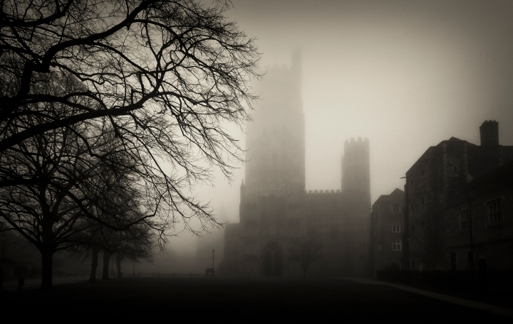This is an image taken of Ely Cathedral on a cold, damp November evening. Final editing consists of tonal and colour adjustments.  'Built by William the Conqueror as a prominent outpost after the bloody and lengthy rebellion by Hereward The Wake, Ely Cathedral stands as a fine example of William's devotion to his Religion and to his overwhelming victory for the Heart's and Minds of that mixed of all races called the britons'.  'Less well known is that