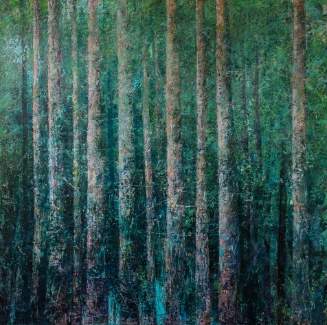 landscape painting of a forest in cold wax