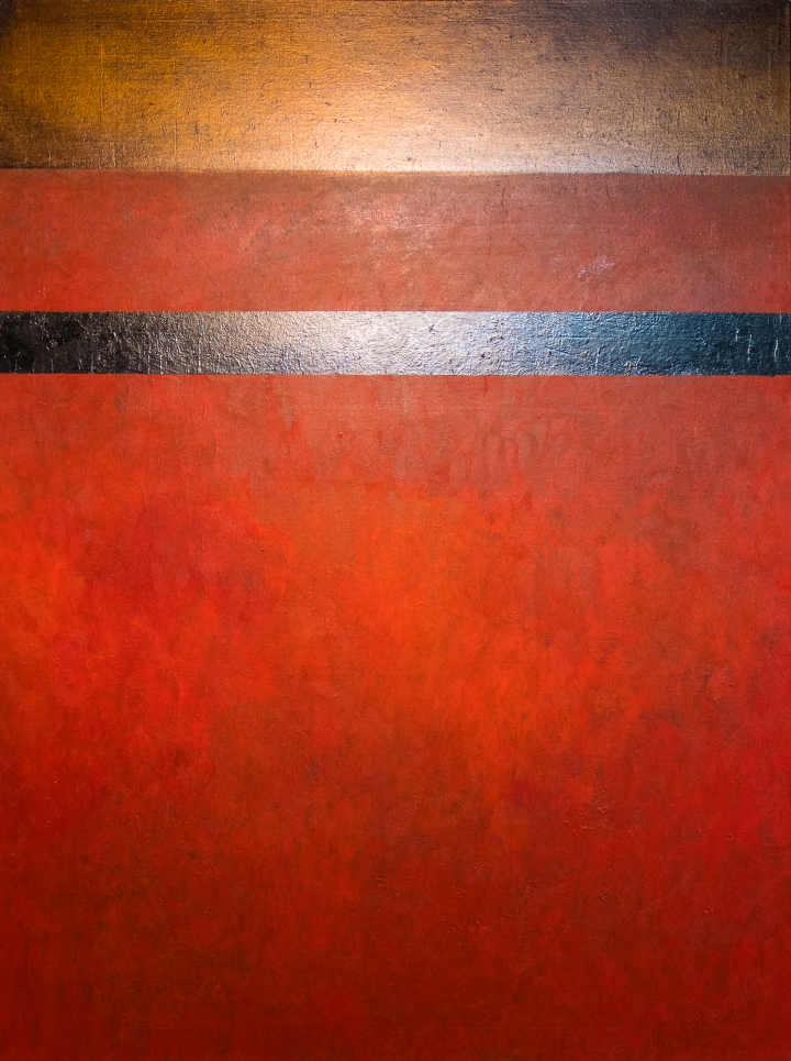 contemporary red landscape painting abstract striped @petercorr.com
