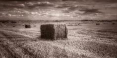 black & white landscape photograph of a haystack @petercorr.com