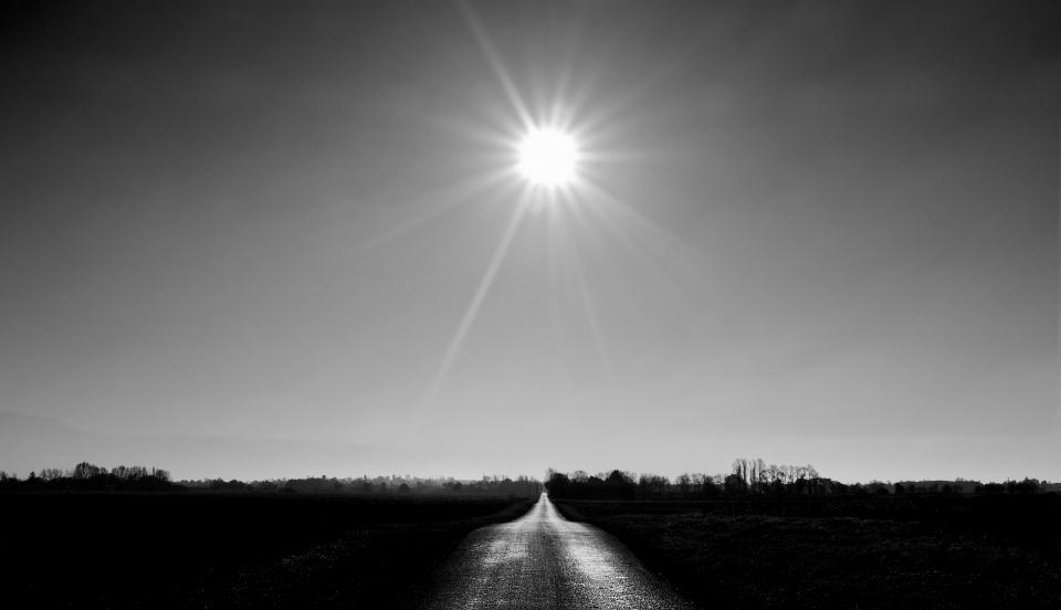 Fenland Road, Cambridgeshire Fuji X100F Black and white photograph