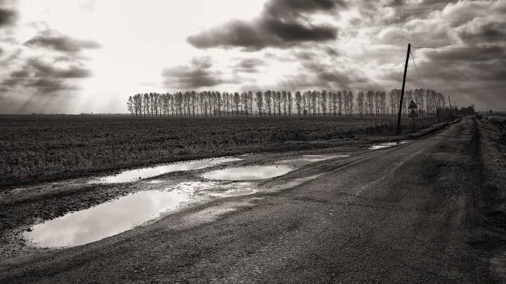 landscape photograph monochrome Fenland road