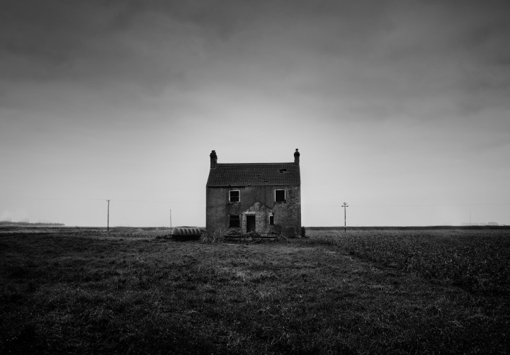 Abandoned House, Fenlands, Cambridgeshire, Monochrome photograph
